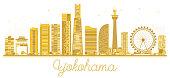 Yokohama Japan City skyline golden silhouette. Business travel concept. Yokohama isolated on white background. Vector Illustration.