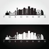 Yokohama skyline and landmarks silhouette, black and white design, vector illustration.