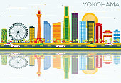 Yokohama Skyline with Color Buildings, Blue Sky and Reflections. Vector Illustration. Business Travel and Tourism Concept with Modern Architecture. Image for Presentation Banner Placard and Web Site.