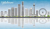 Yokohama Skyline with Gray Buildings, Blue Sky and Reflections. Vector Illustration. Business and Tourism Concept with Modern Buildings. Image for Presentation, Banner, Placard or Web Site.