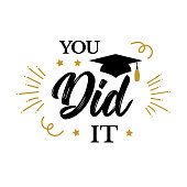 You did it. Congrats Graduates, class of 2019. Graduation party icon with red and black cap. Vector design logo for congratulation ceremony, invitation card, banner. University, School, Academy grads