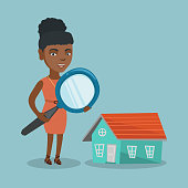 Young african-american business woman using a magnifying glass for looking for a new house. Woman using a magnifying glass to look closer at a house model. Vector cartoon illustration. Square layout