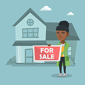 Young african-american broker offering the house for sale. Broker with placard for sale and documents in hands standing on the background of house for sale. Vector cartoon illustration. Square layout.