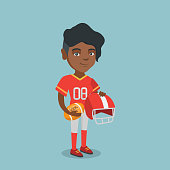 Young african-american rugby player holding a ball and a helmet in hands. Full length of rugby player in uniform. Sport and leisure concept. Vector cartoon illustration. Square layout.