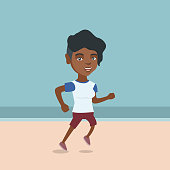 African-american woman jogging on the beach. Young sportswoman running along the seashore. Sporty woman enjoying jogging on the beach. Vector cartoon illustration. Square layout.