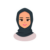 Smiling girl in hijab. Young Arabic business woman wearing hijab. Arabian Woman Face Covered with Hijab. Vector illustration isolated from white background