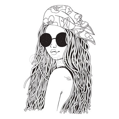 Joven Hermosa Chica En Gafas De Sol Y Pañuelo Doodle De Blanco Y ...