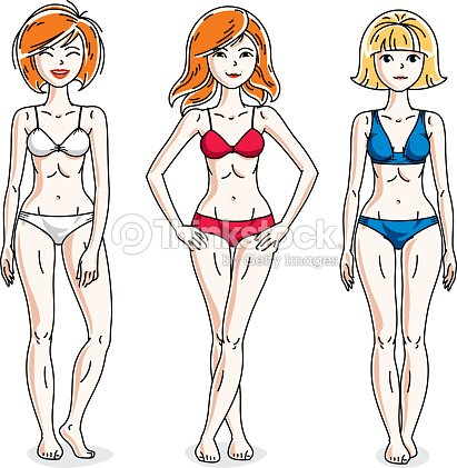 Young beautiful women posing in colorful bikini. Vector set of beautiful people illustrations.
