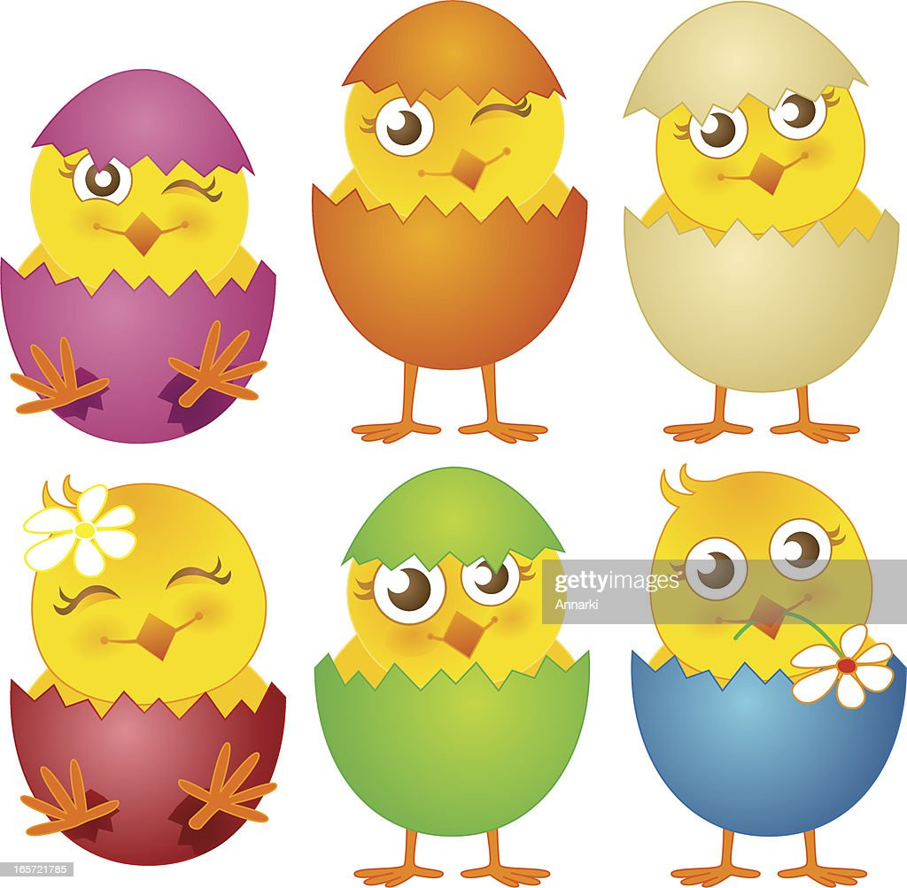 yellow cartoon character in colorful easter egg vector art