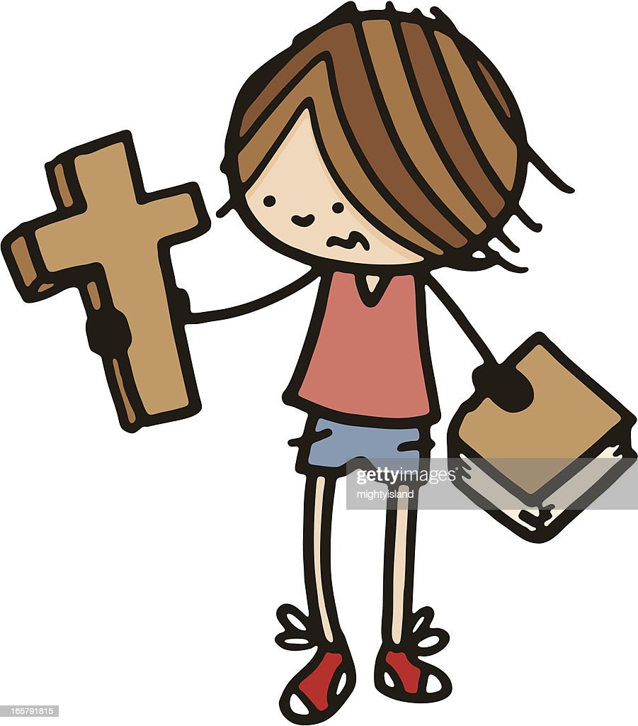 young boy with a cross and bible vector art getty images
