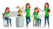 Business Woman Character Vector. Young Female In Different Poses. Teen Clerk In Office Clothes. Designer, Manager. Cartoon Illustration