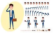 Young Businessman character creation set for animation. Set of guy acting in suit using smartphone. Parts body template. Different emotions, poses and  running, walking, standing, sitting. Cartoon Vec