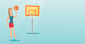 Young caucasian basketball player spinning a ball on her finger. Professional basketball player standing on the basketball court. Vector flat design illustration. Horizontal layout.