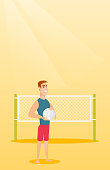Caucasian beach volleyball player standing on the background of voleyball net. Young sportsman holding a volleyball ball in hands. Vector flat design illustration. Vertical layout.