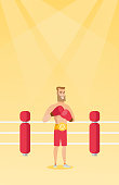 Young caucasian confident sportsman wearing a champion belt and boxing gloves. Full length of professional male boxer standing in the boxing ring. Vector flat design illustration. Vertical layout.