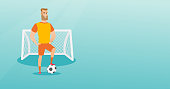Young caucasian sportsman standing with a football ball on the background of football gate. Football player standing with a soccer ball on the field. Vector flat design illustration. Horizontal layout