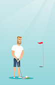 Young caucasian hipster golfer with beard directing a ball into a golf hole with a flag. Professional golfer playing golf. Sport and leisure concept. Vector flat design illustration. Vertical layout.