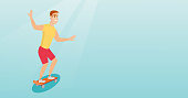 Cheerful young man riding a skateboard. Happy caucasian man skateboarding. Smiling man jumping with skateboard. Sport and healthy lifestyle concept. Vector flat design illustration. Horizontal layout.