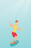 Cheerful young man riding a skateboard. Happy caucasian man skateboarding. Smiling man jumping with a skateboard. Sport and healthy lifestyle concept. Vector flat design illustration. Vertical layout.