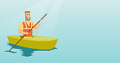 Young caucasian traveler man traveling by kayak. Sportsman riding a kayak on the river. Traveling man paddling a canoe. Sport and tourism concept. Vector flat design illustration. Horizontal layout.