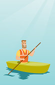 Young caucasian traveler man traveling by kayak. Sportsman riding a kayak on the river. Traveling man paddling a canoe. Sport and tourism concept. Vector flat design illustration. Vertical layout.