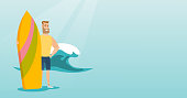 Caucasian hipster man with beard standing with a surf board on the beach. Young surfer holding a surf board on the background of sea wave. Vector flat design illustration. Horizontal layout.