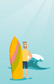 Caucasian hipster man with beard standing with a surf board on the beach. Young surfer holding a surf board on the background of sea wave. Vector flat design illustration. Vertical layout.