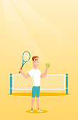 Smiling caucasian sportsman standing on the background of tennis net. Young tennis player holding a racket and a ball. Cheerful man playing tennis. Vector flat design illustration. Vertical layout.