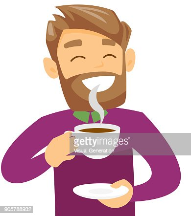Young caucasian white man enjoying cup of coffee : stock vector