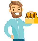 Young caucasian white happy smiling hipster man with beard holding pack of beer. Cheerful man carrying a six pack of beer. Vector cartoon illustration isolated on white background.