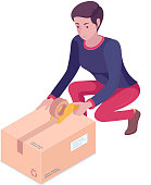 Young caucasian white woman moving to a new house and packing cardboard box. Girl taping up a cardboard box with adhesive tape. Vector cartoon isometric illustration isolated on white background.