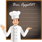 Young chef with a blank blackboard to list today's menu or chef's special menu. This is an EPS 10 vector file with NO transparencies. The layers are easily editable and neatly named. Similar occupatio