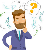 Young confused caucasian white hipster businessman thinking while standing under question mark and arrows. Concept of business thinking. Vector cartoon illustration isolated on white background.