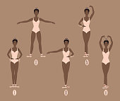 Young african american woman dancer in points shows the five basic ballet positions, demonstrating the correct placement of arms, legs and feet. Female in pink leotard bodysuit performs dance movement