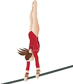 young female athlete gymnast on vector illustration