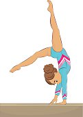 Vector illustration of a young female gymnast performing on balance beam, back walkover