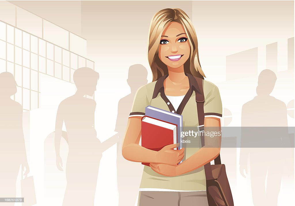 Young Female Student : Vector Art