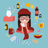 Young girl in glasses and red hat caught cold flu or virus. She has red nose, high temperature and holds handkerchief. Ways to treat illness in a circle around. Vector isolated objects on blue backgro