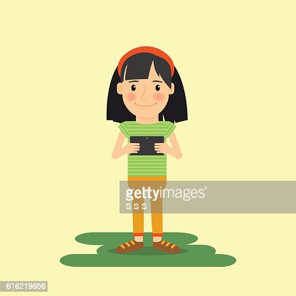 Young girl with tablet gadget : Vector Art