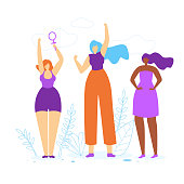 Young Girls with Hands Up. Diverse International and Interracial Women. Female Power Symbol in Hand, Feminism and Feminine, Woman Empowerment Idea. Togetherness. Cartoon Flat Vector Illustration.