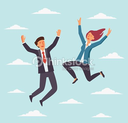 Young, happy business people jumping over the city. Successful, smiling man and woman celebrating victory