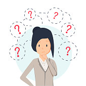Young hipster business woman thinking standing under question marks. Vector flat cartoon illustration character icon. Business woman surrounded by question marks concept. Women think