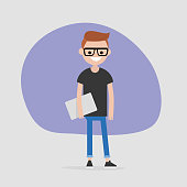 Young male character holding a laptop. Modern office worker. Millennial. Lifestyle. FLat editable vector illustration, clip art