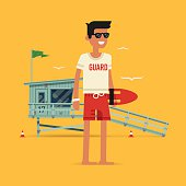 Cool vector modern flat character design on young male lifeguard standing full length holding rescue buoy with lifeguard tower in background