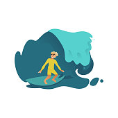 Young male surfer riding blue ocean or sea wave on his surfboard in flat style isolated on white background - vector illustration of active lifestyle, extreme sport and summer beach vacation concept.