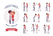 Young man and woman greeting ready-to-use character set. Various poses, emotions, standing, fist bump, hug. Full length, front, rear view isolated, white background. Social communication concept