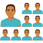 Attractive young man with different facial expressions set isolated