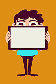 Vector illustration of a cartoon man holding a tablet with a blank screen.