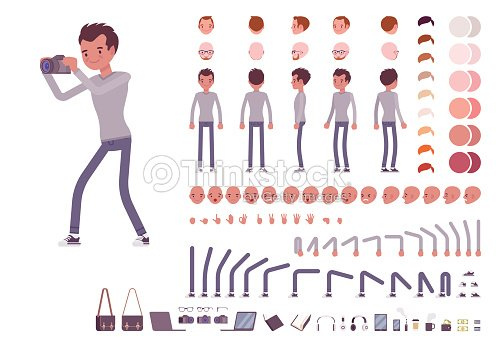 Young man in casual clothes. Character creation set : stock vector