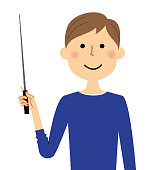 It is an illustration of a young man pointing to a stick.